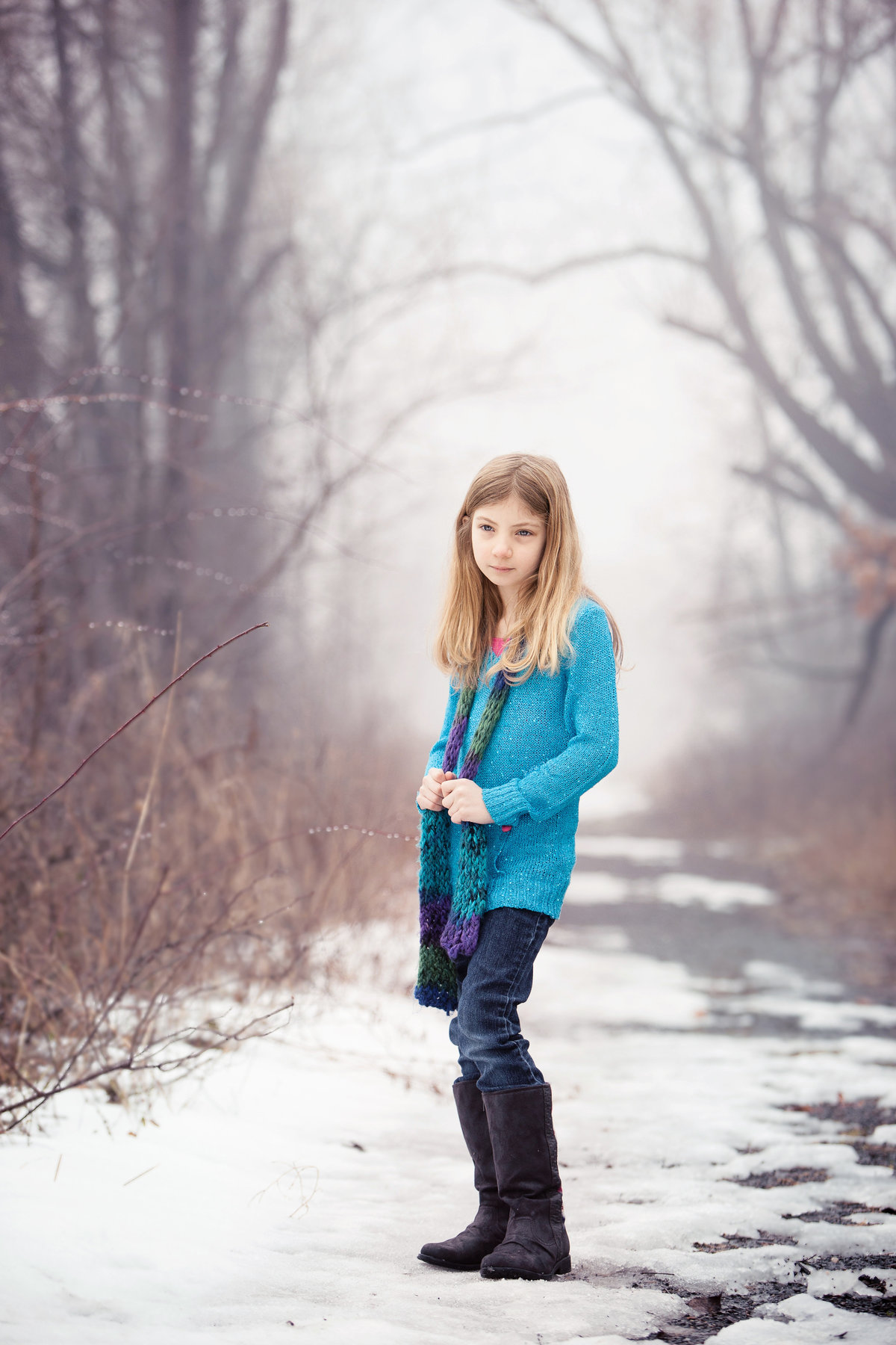 tweens, kids, child photography outdoors in the snow and fog by Hudson Valley NY best professional children's photographer