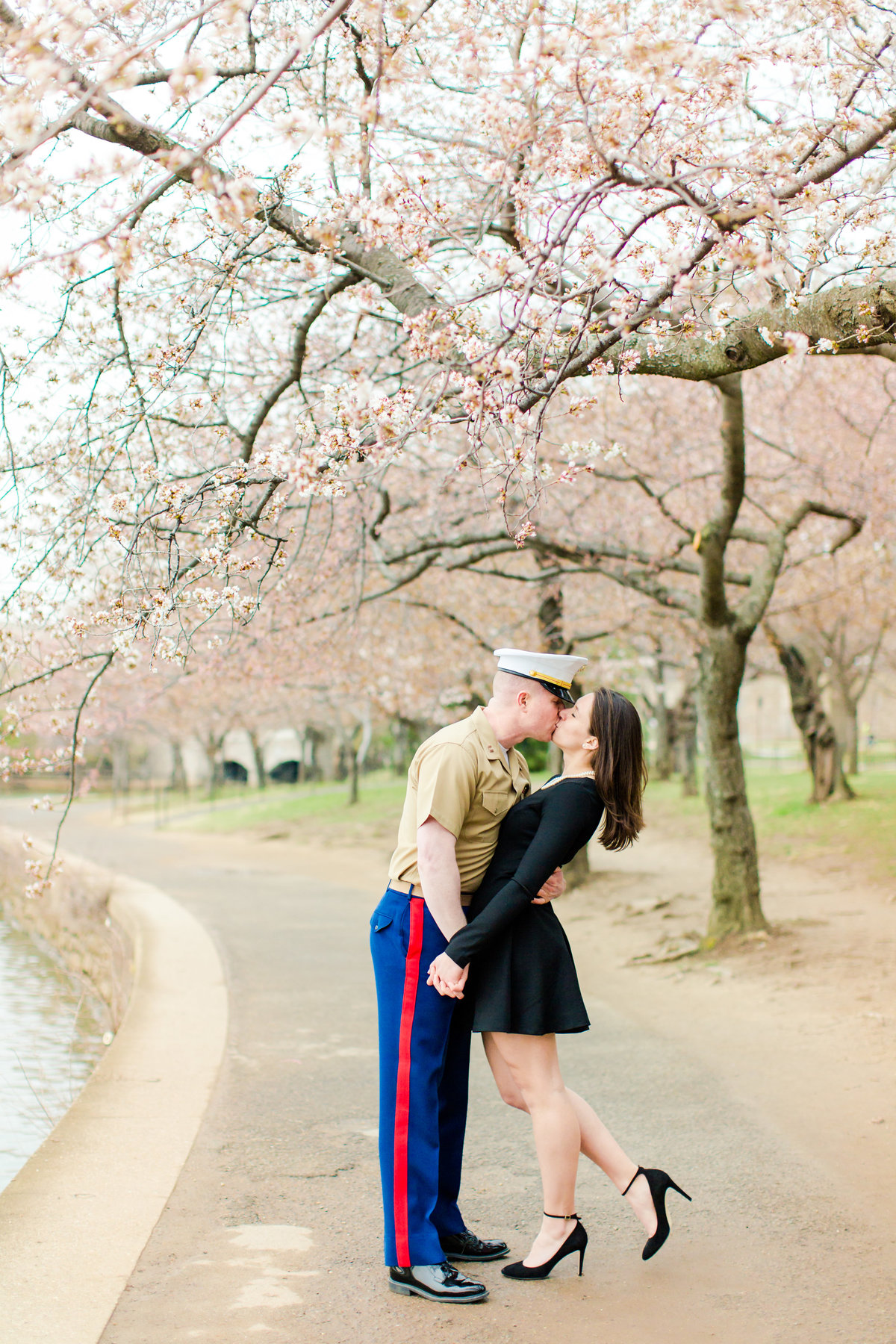 Washington DC Cherry Blossoms Engagement Session Tidal Basin Lincoln Jefferson Memorial-50