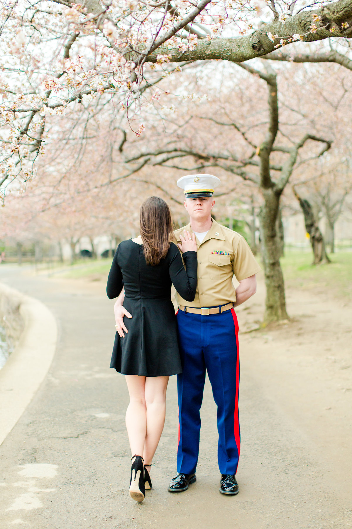 Washington DC Cherry Blossoms Engagement Session Tidal Basin Lincoln Jefferson Memorial-53