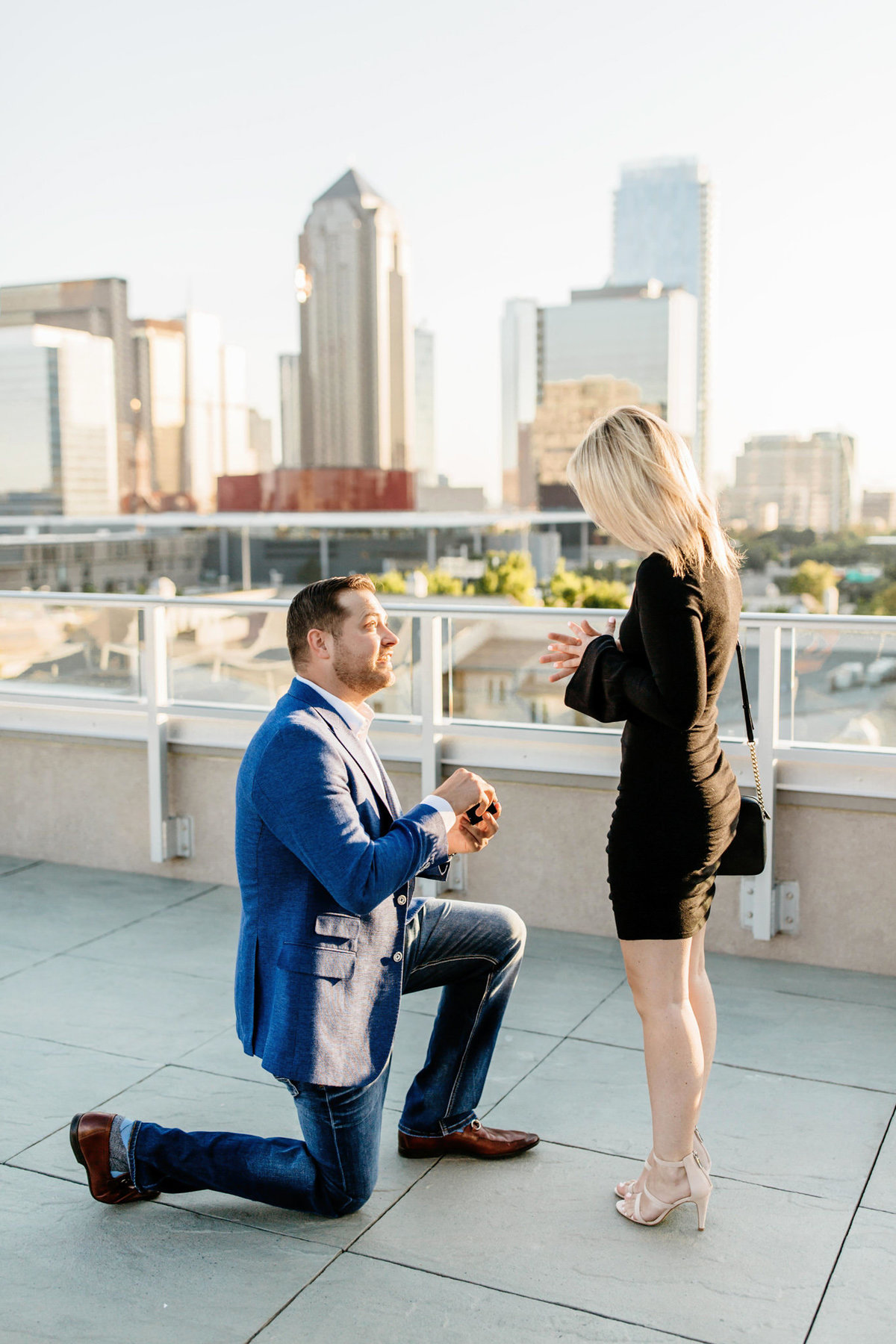 Eric & Megan - Downtown Dallas Rooftop Proposal & Engagement Session-30
