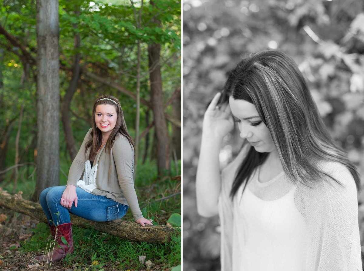 High School Senior Girl Portraits in woods with red cowboy boots in the country and in black and white fixing hair photo