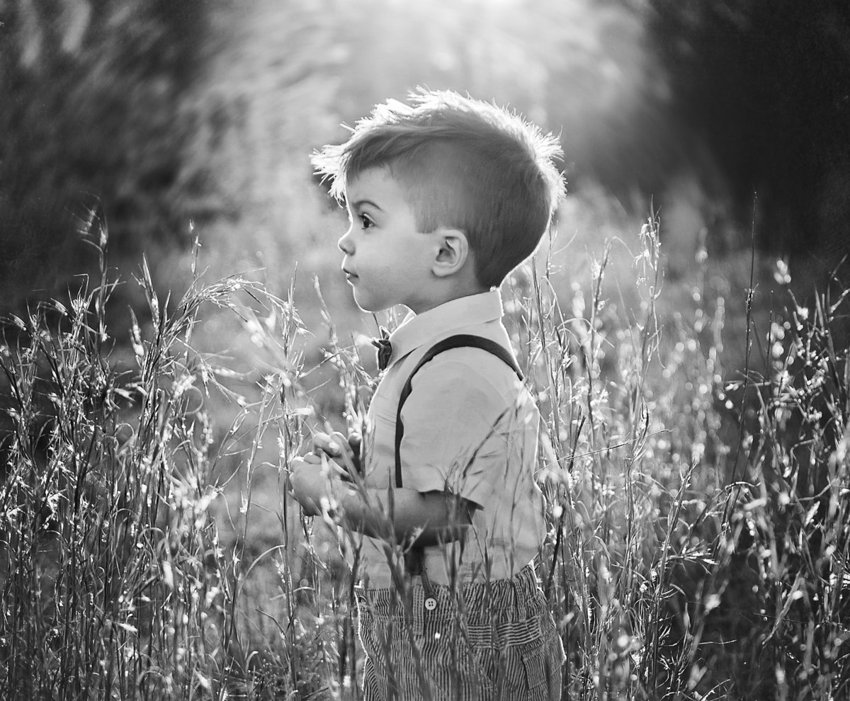 charlotte family photographer jamie lucido captures beautiful black and white portrait of a boy for his second birthday