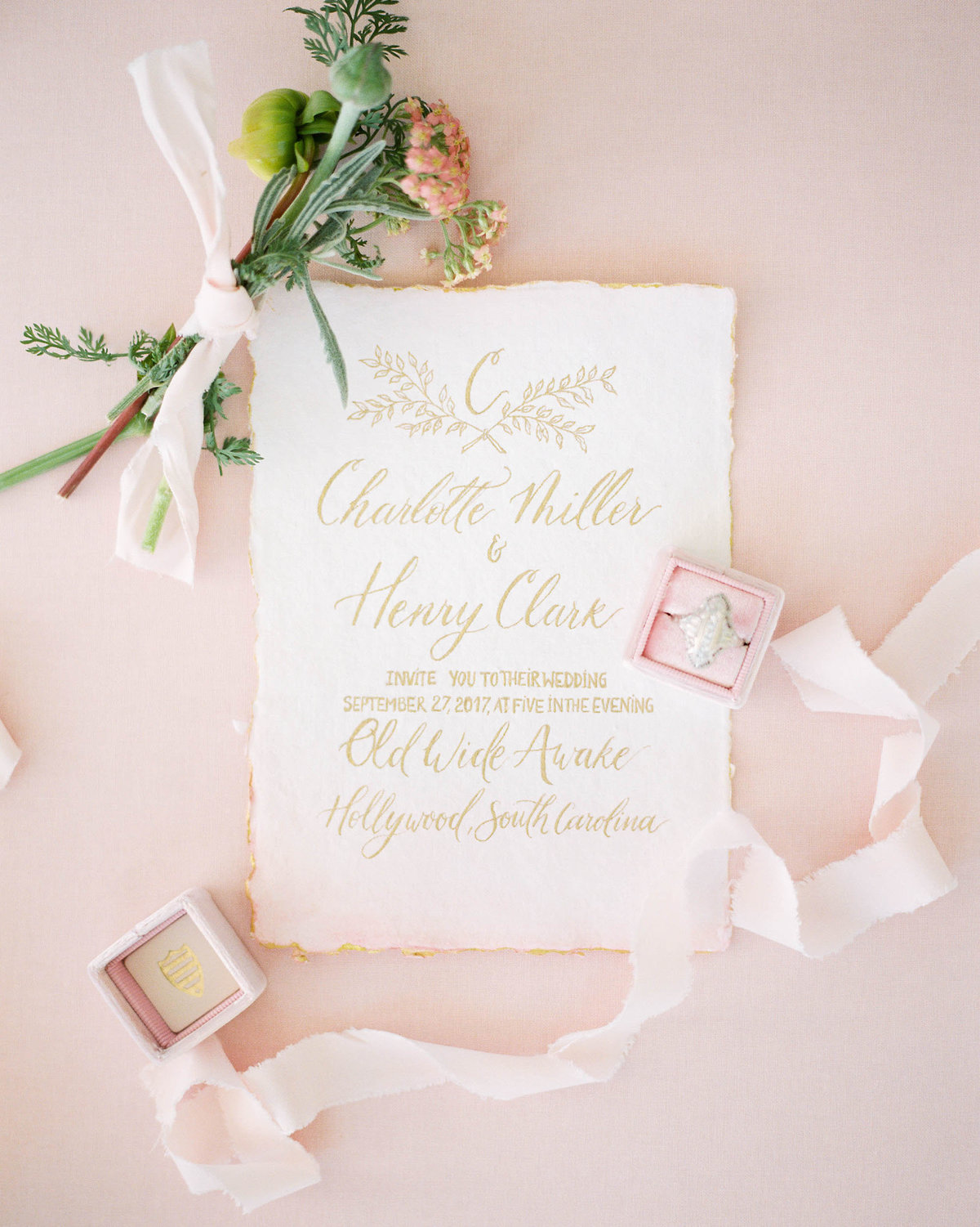 Plume & Fete romantic blush pink and gold custom invitation
