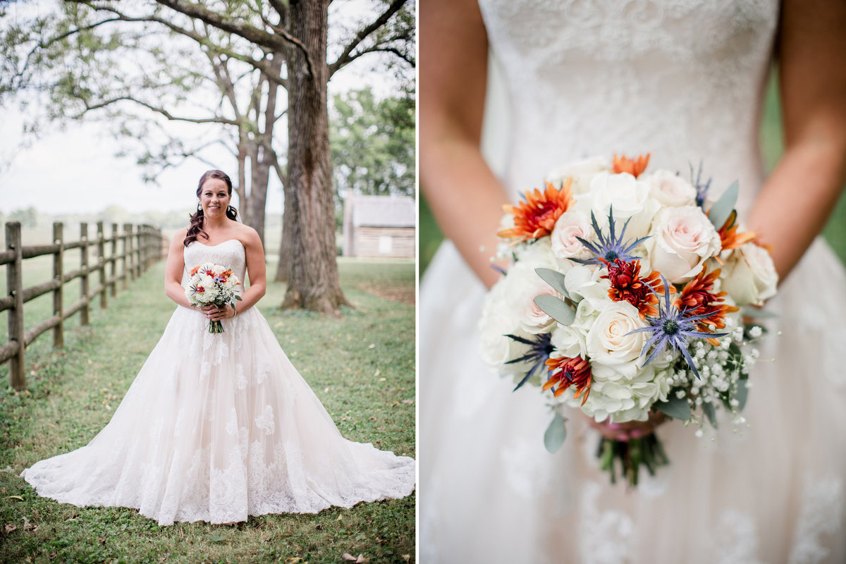 Bride and her bouquet at Sam Davis Home Wedding Venue by Knoxville Wedding Photographer, Amanda May Photos.