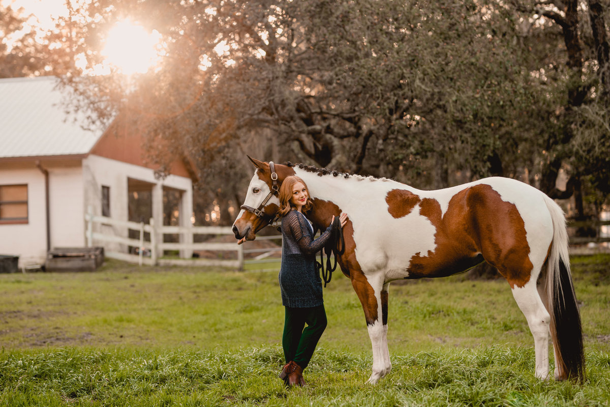 Horse and rider portrait session taking place in the bright Ocala sunset.