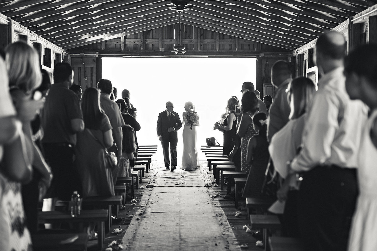 Covered Bridge Bride walking down the isle