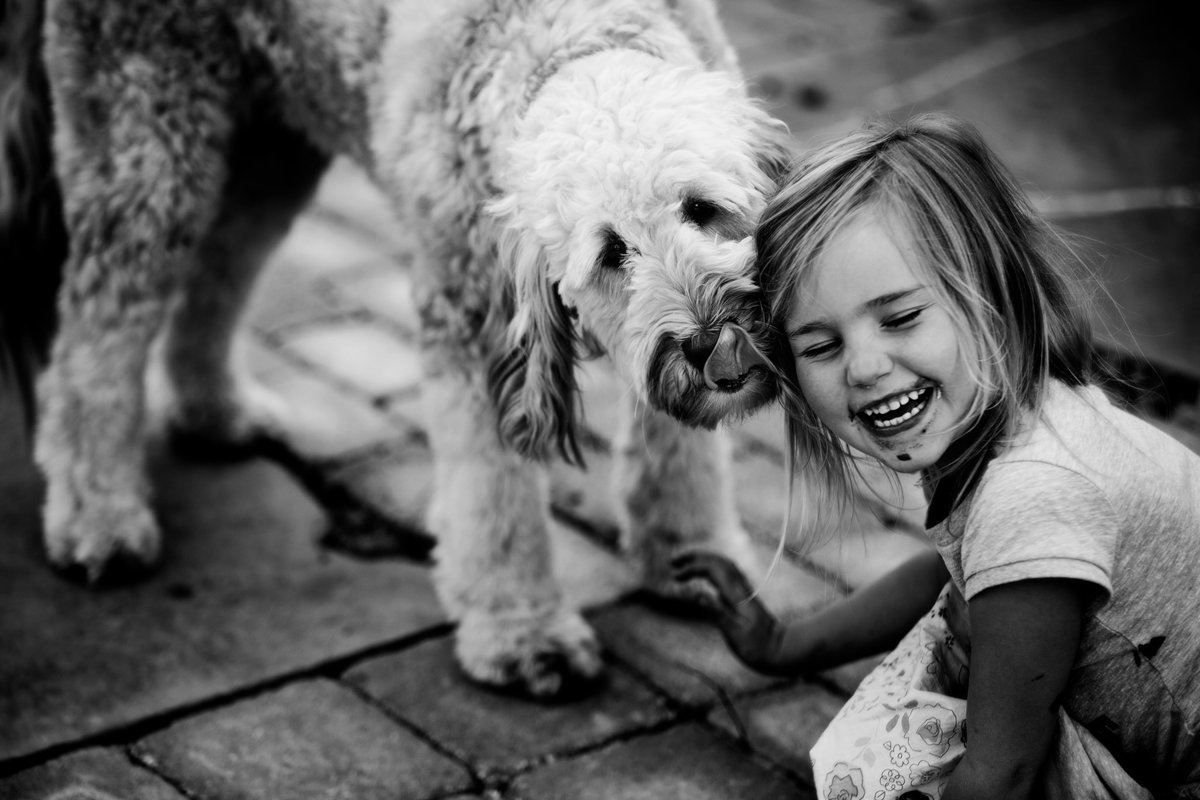 summer kellogg photography;fine art; fine art photography;black and white;girl and her dog;goldendoodle