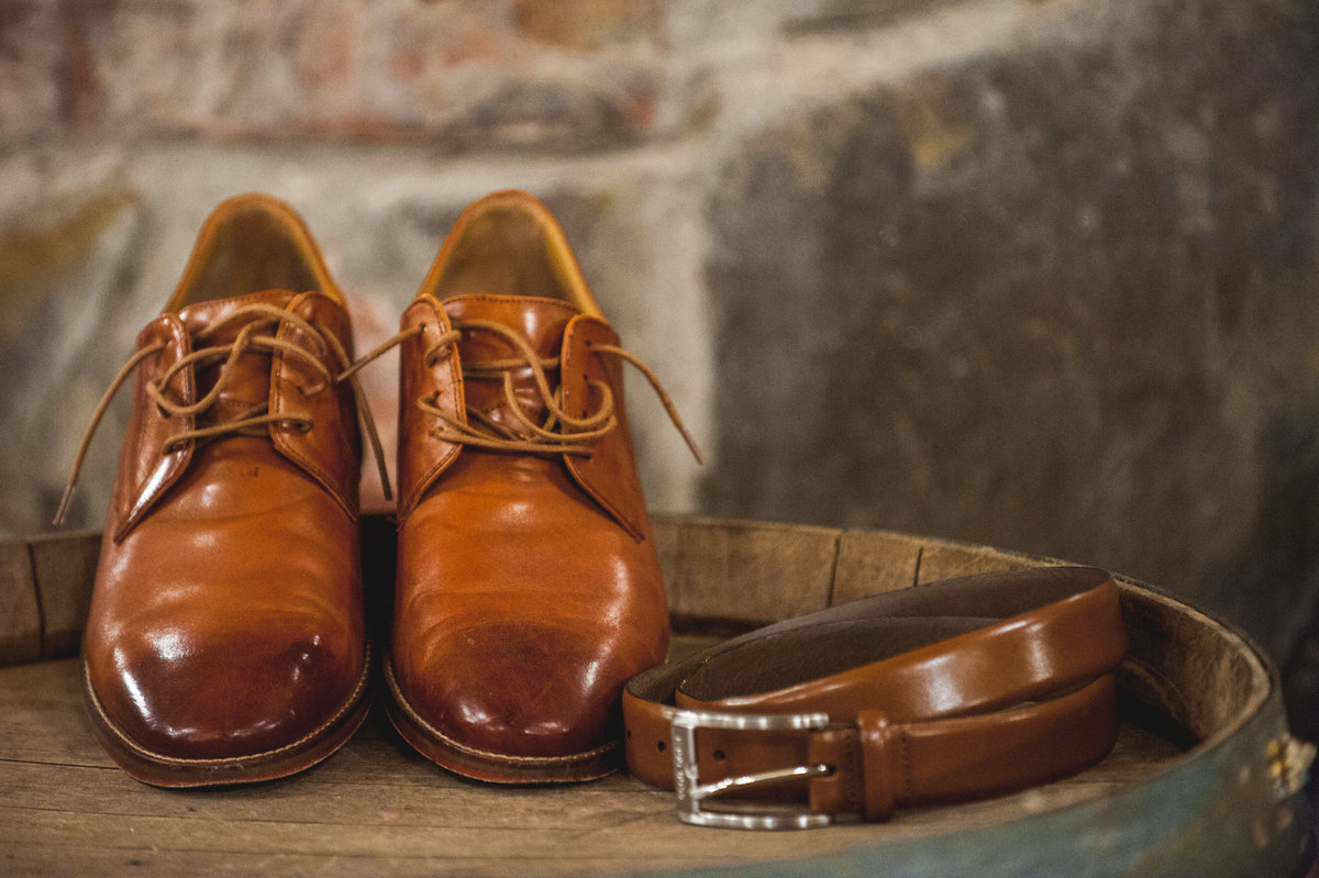 San Diego groom belt and shoes at Milagro Winery