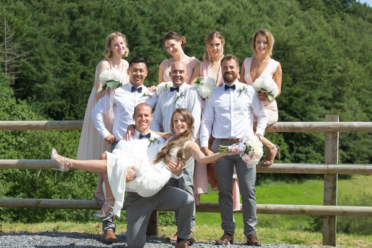bridal party at devon country wedding bovey