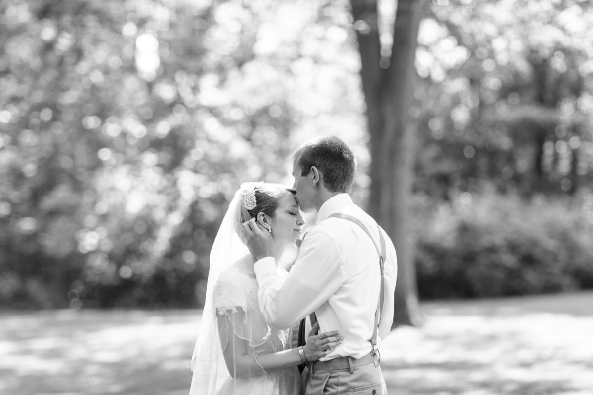 A bride and groom at the Blanton House in Danville taken by Erika Brown Photography