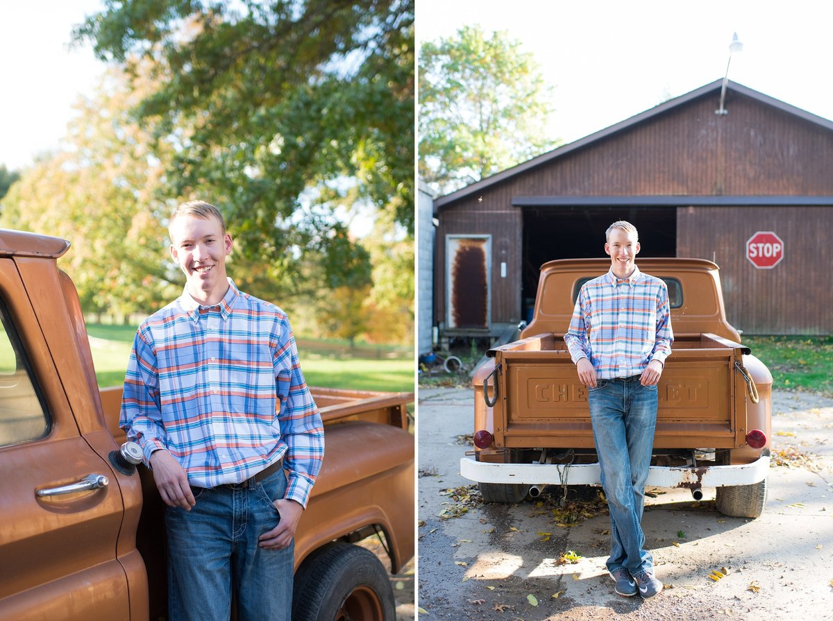 Outdoor senior portrait session with boy and vintage truck Photo