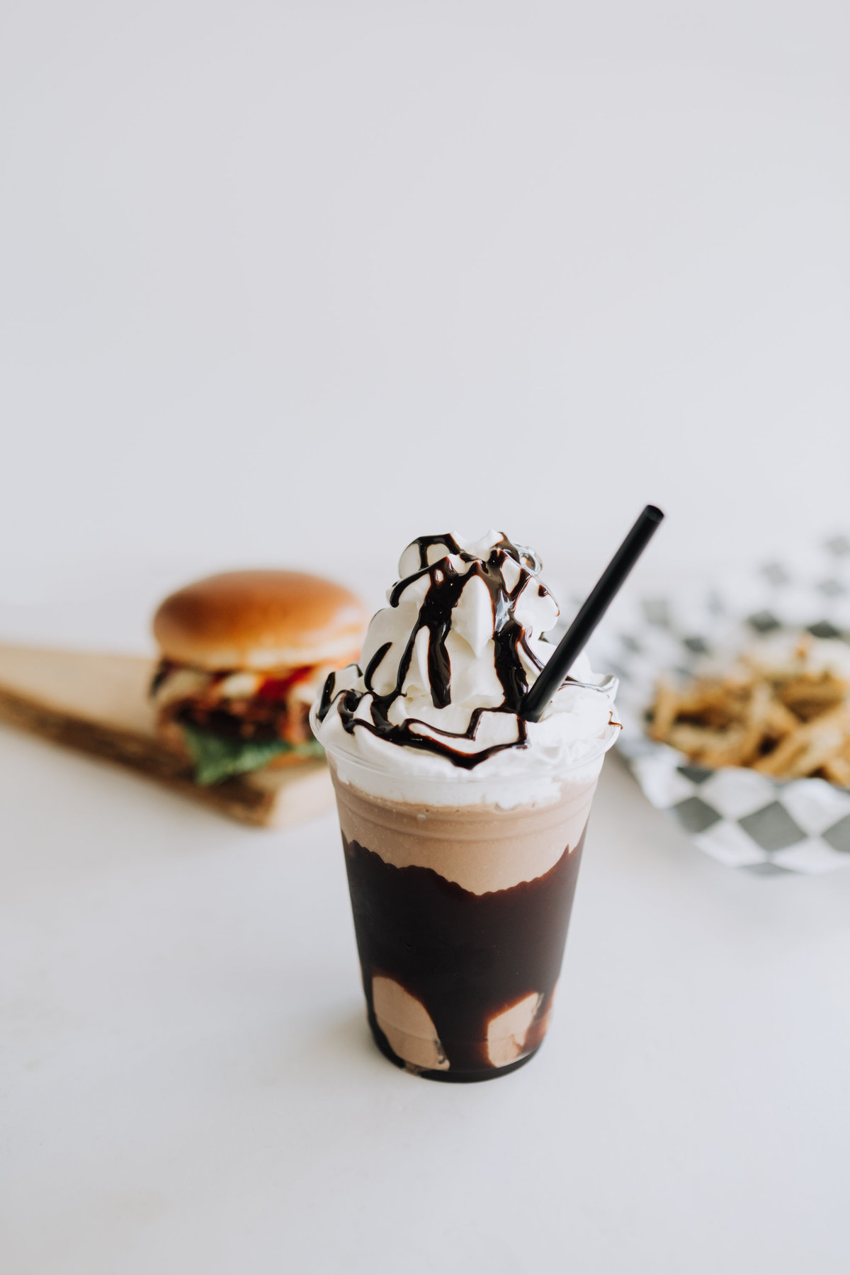 honest abes burgers hamburgers french fries  milkshake chocolate shake