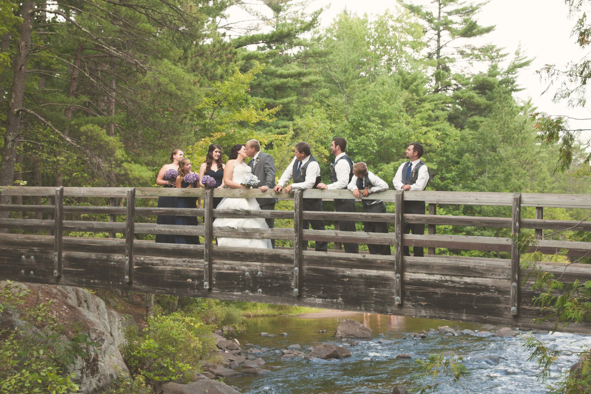 Rustic outdoor wedding in the northwoods park bridge bridal party by Casi Lea Photography-green bay wedding photographer-door county wedding photographer-milwaukee wedding photographer-appleton wedding photographer-wisconsin weddings