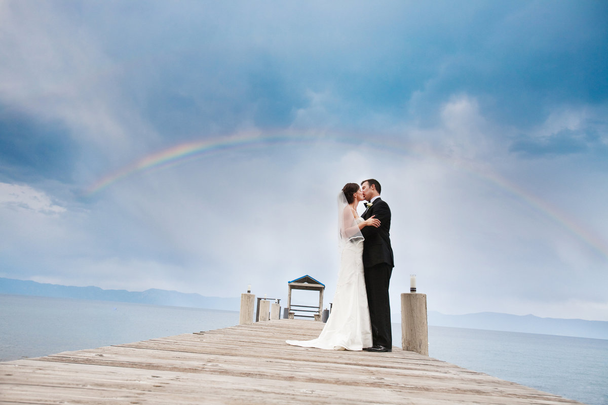 Lake Tahoe Wedding, Bride and Groom, Kiss, Rainbow, Kissing on pier with rainbow, Jennifer Baciocco Photography