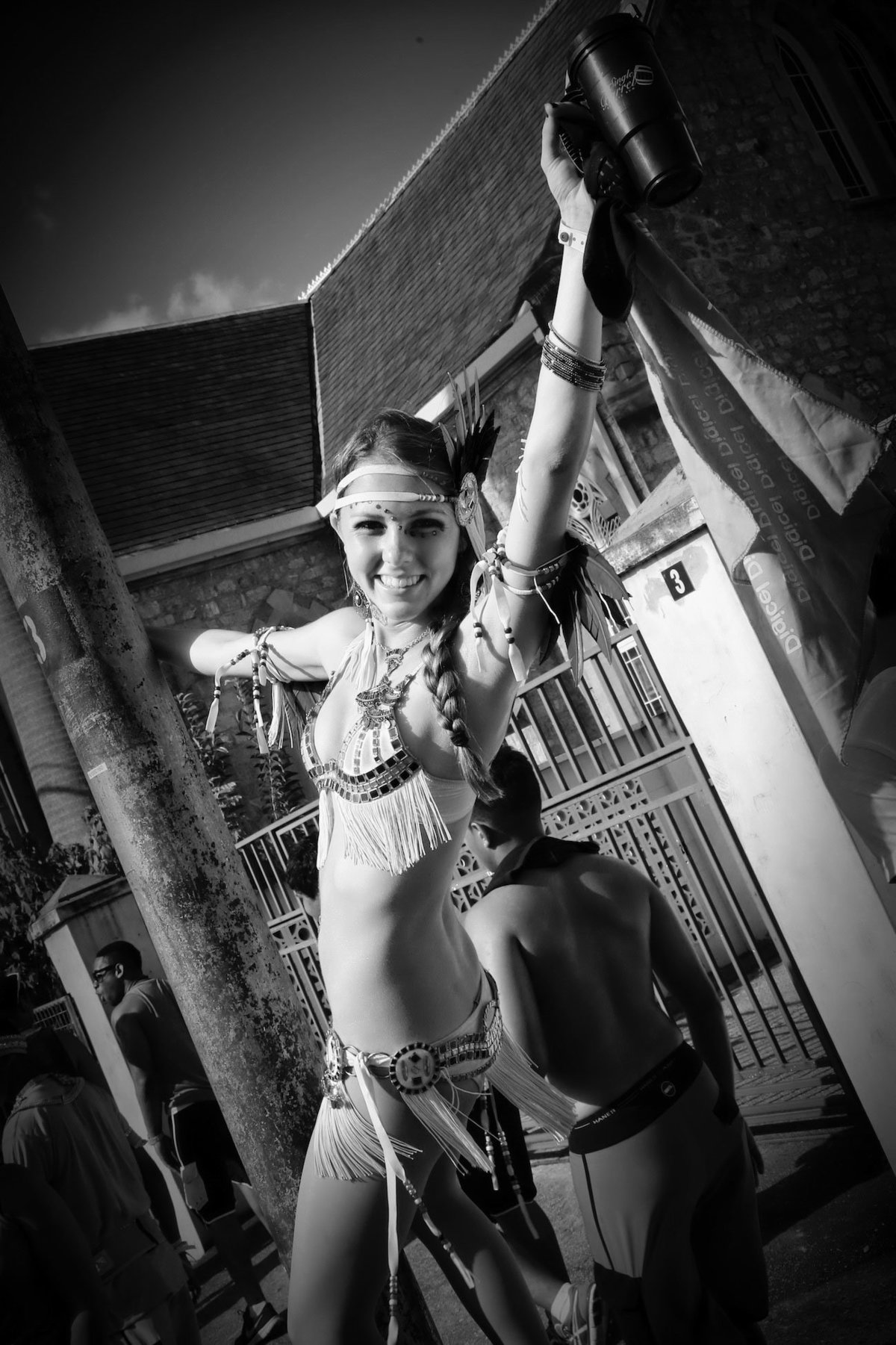 B+W image of female masquerader. Photo by Ross Photography, Trinidad, W.I..