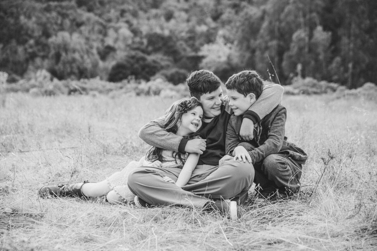 black and white rustic family photos