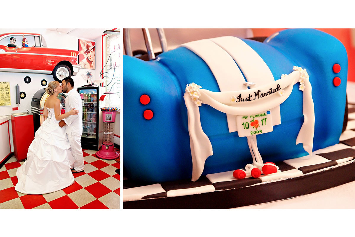 ice cream parlor wedding car grooms cake