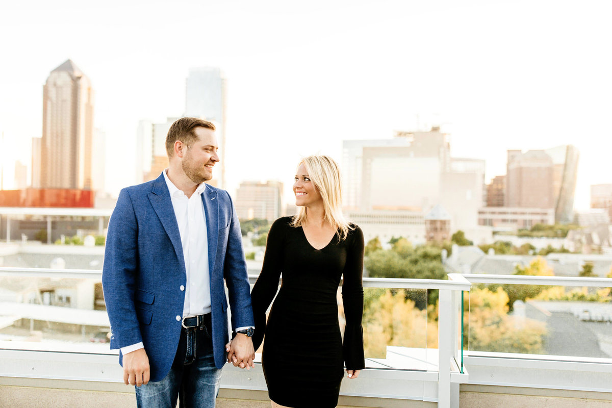 Eric & Megan - Downtown Dallas Rooftop Proposal & Engagement Session-95