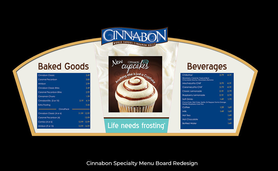 Cinnabon Specialty Menu Board