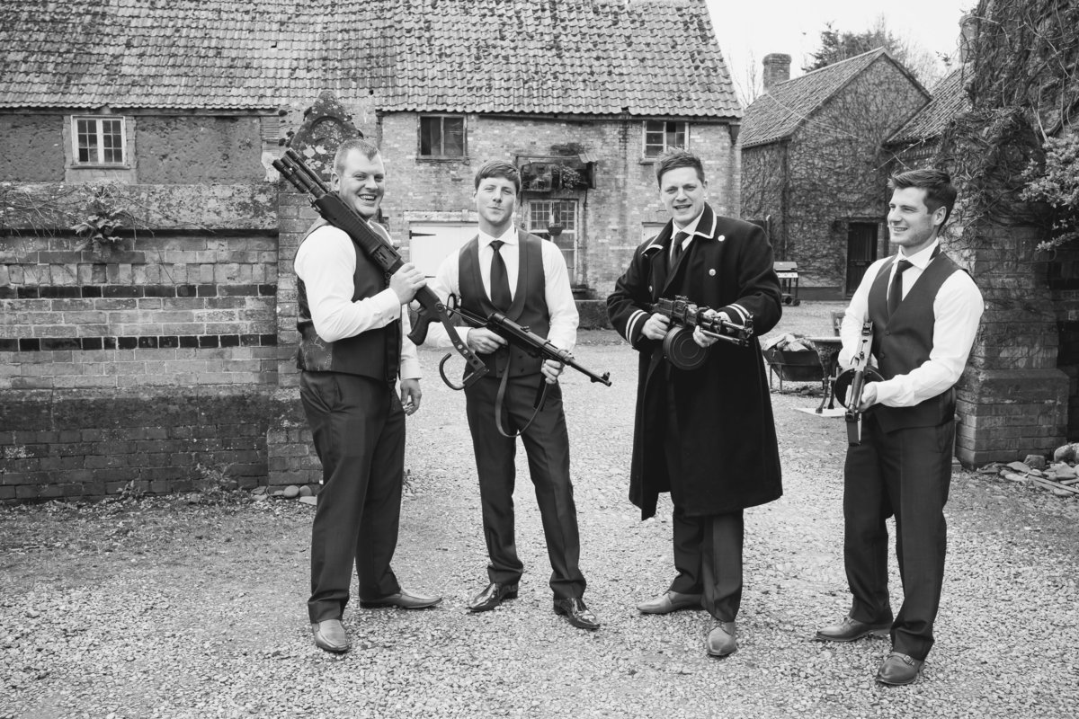 groom and ushers with guns at maunsel house