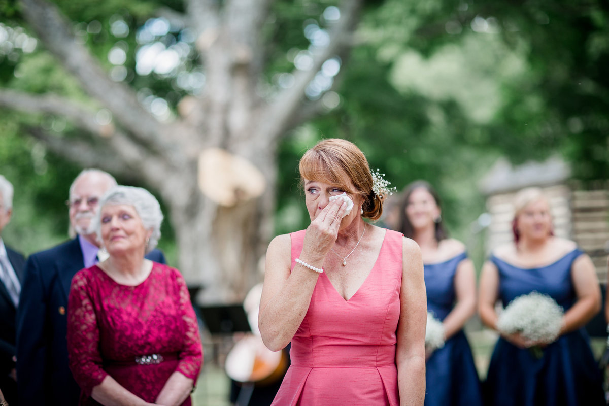 Mom getting emotional during the ceremony at Sam Davis Home Wedding Venue by Knoxville Wedding Photographer, Amanda May Photos.