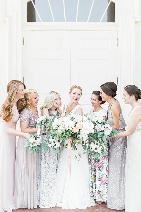 Laughing Bridesmaids in Mismatched floral dresses