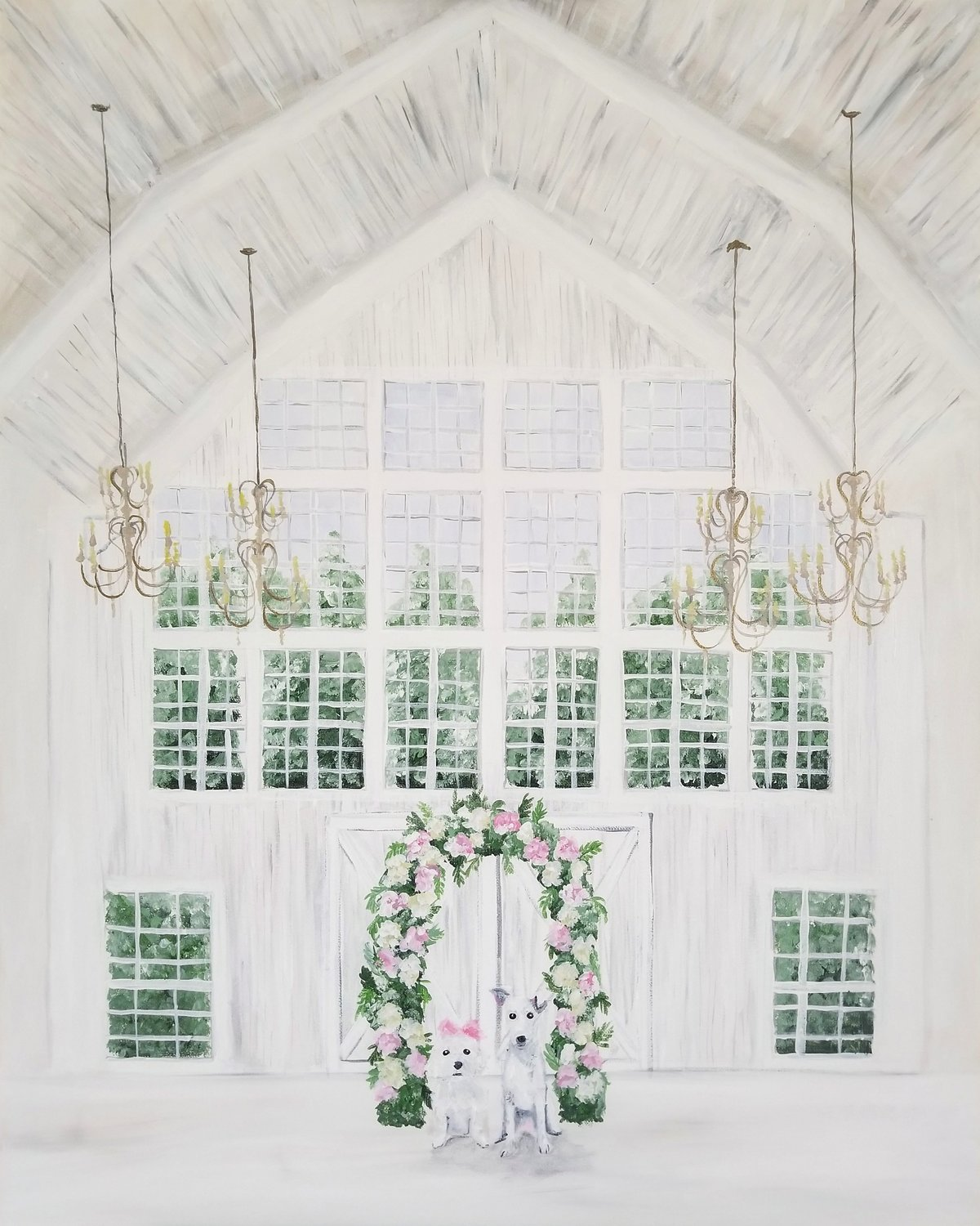 White Sparrow Barn wedding ceremony live wedding painting Dallas Fort Worth Texas