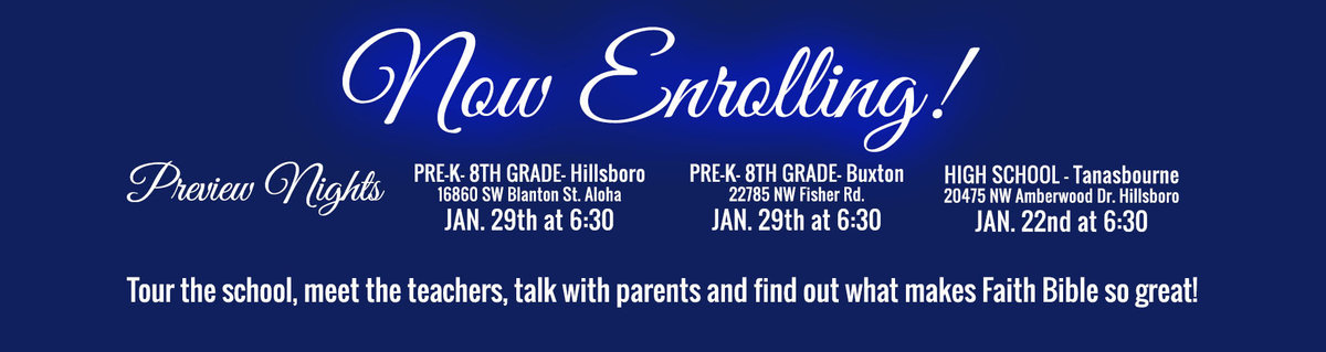 NOW ENROLLING- PREVIEW NIGHT