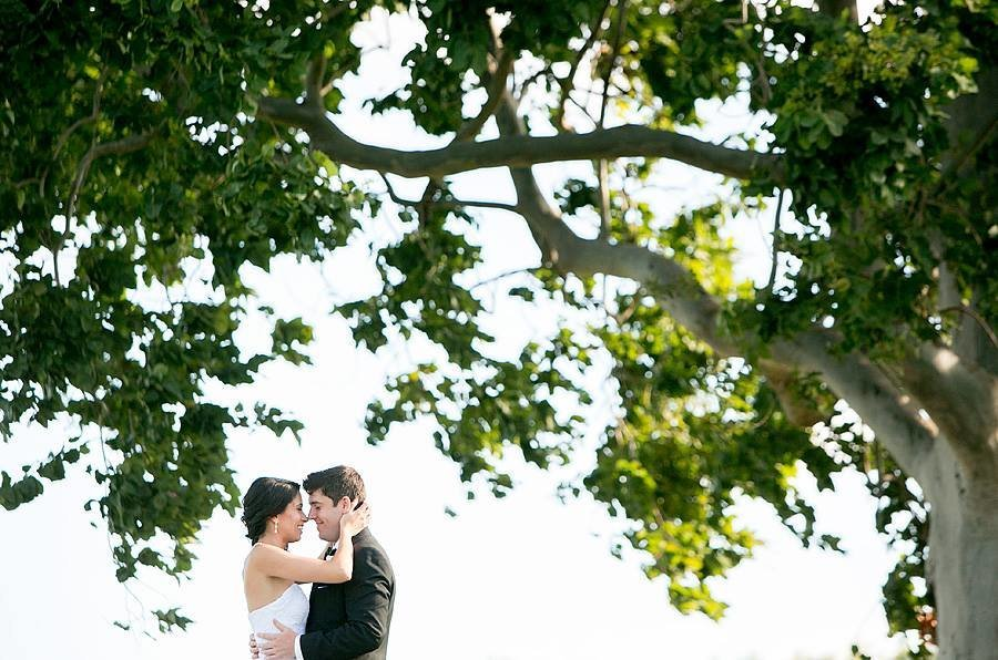 pga national wedding couple standing under large tree