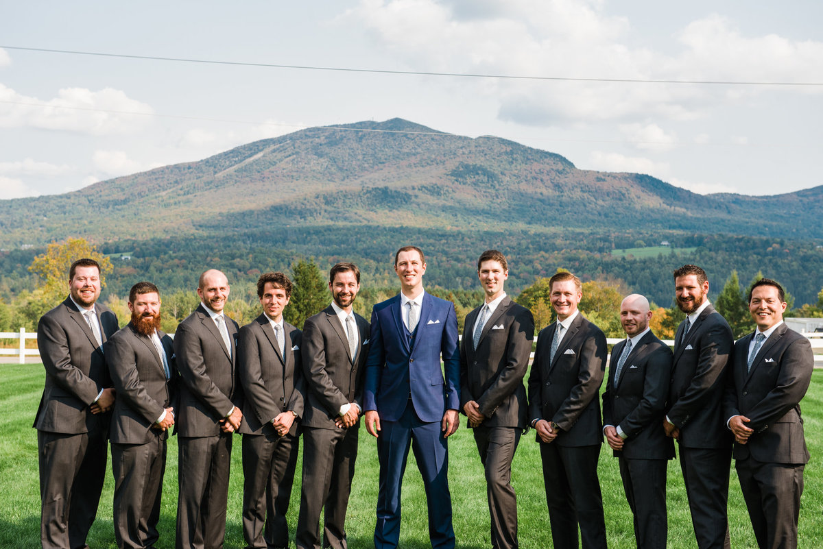 groom and groomsmen in Vermont mountains