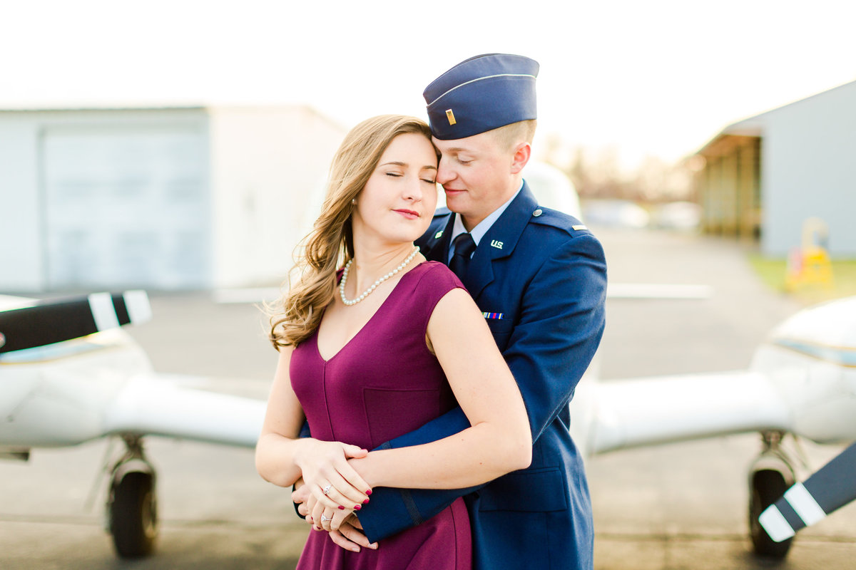 Airport Engagement Session Air Force Engagement Session at Shenandoah Valley Regional Airport in Weyers Cave, Virginia Emily Sacra Photography-35