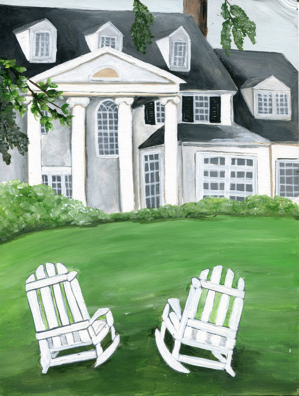 Custom wedding venue painting featuring the Inn at Perry Cabin in Maryland