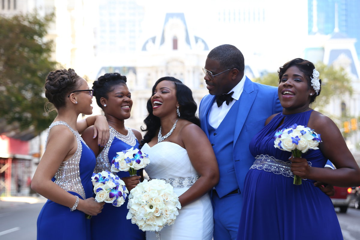 Stotesbury Mansion ceremony and wedding reception bridal portraits at City Hall
