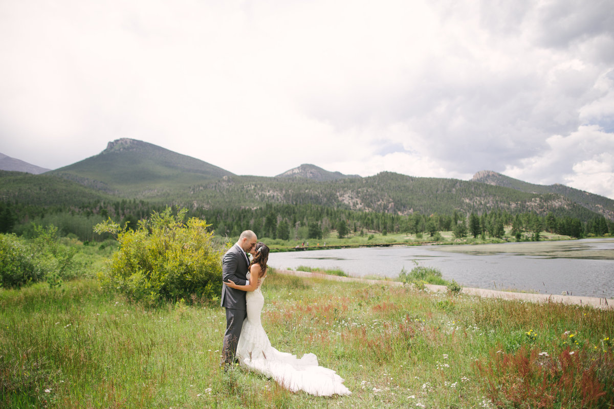 mountain lake wedding bride