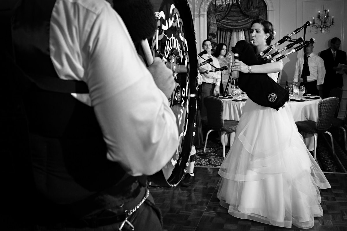 New Hampshire Wedding Photographers NH Wentworth By the Sea Bagpipes Bride Reception Photo