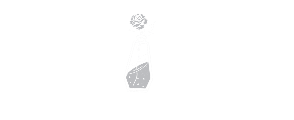 A white logo for Violent Delights Tattoo Club and a coffin shaped poison bottle and rose.