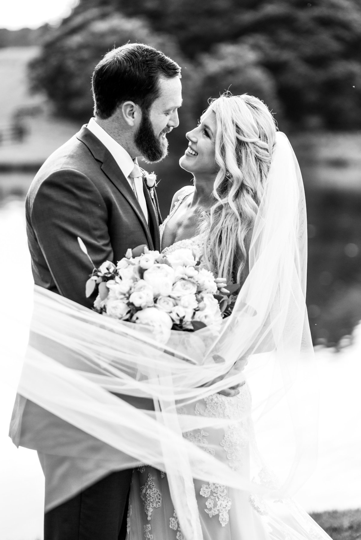 Stunning wedding couple on a black and white photo. Richmond wedding photographers