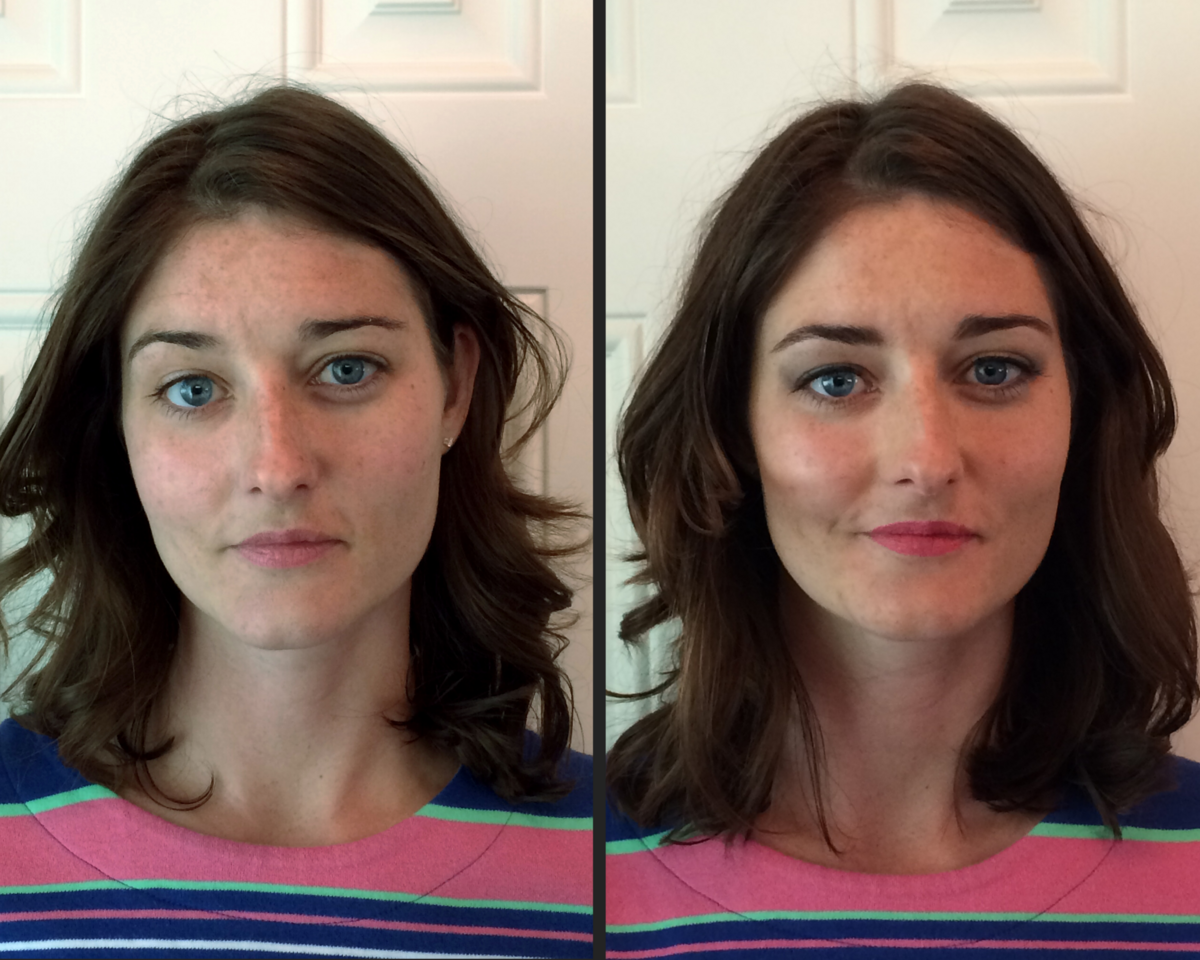before and. after corrective makeup to alter cheekbone placement straighten nose lined eyes to accentuate blue eyes