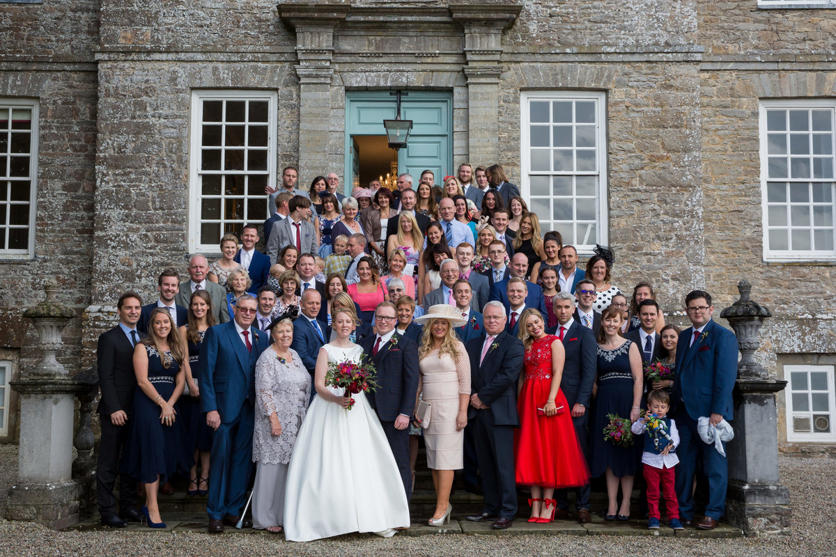 group shot at kingston estate weddings devon