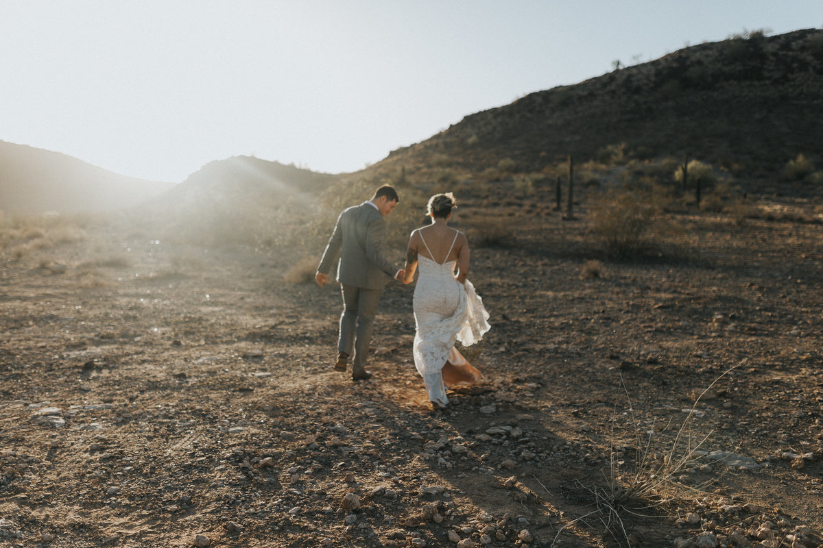 Bride and groom portrait of an elopement couple in Phoenix Arizona