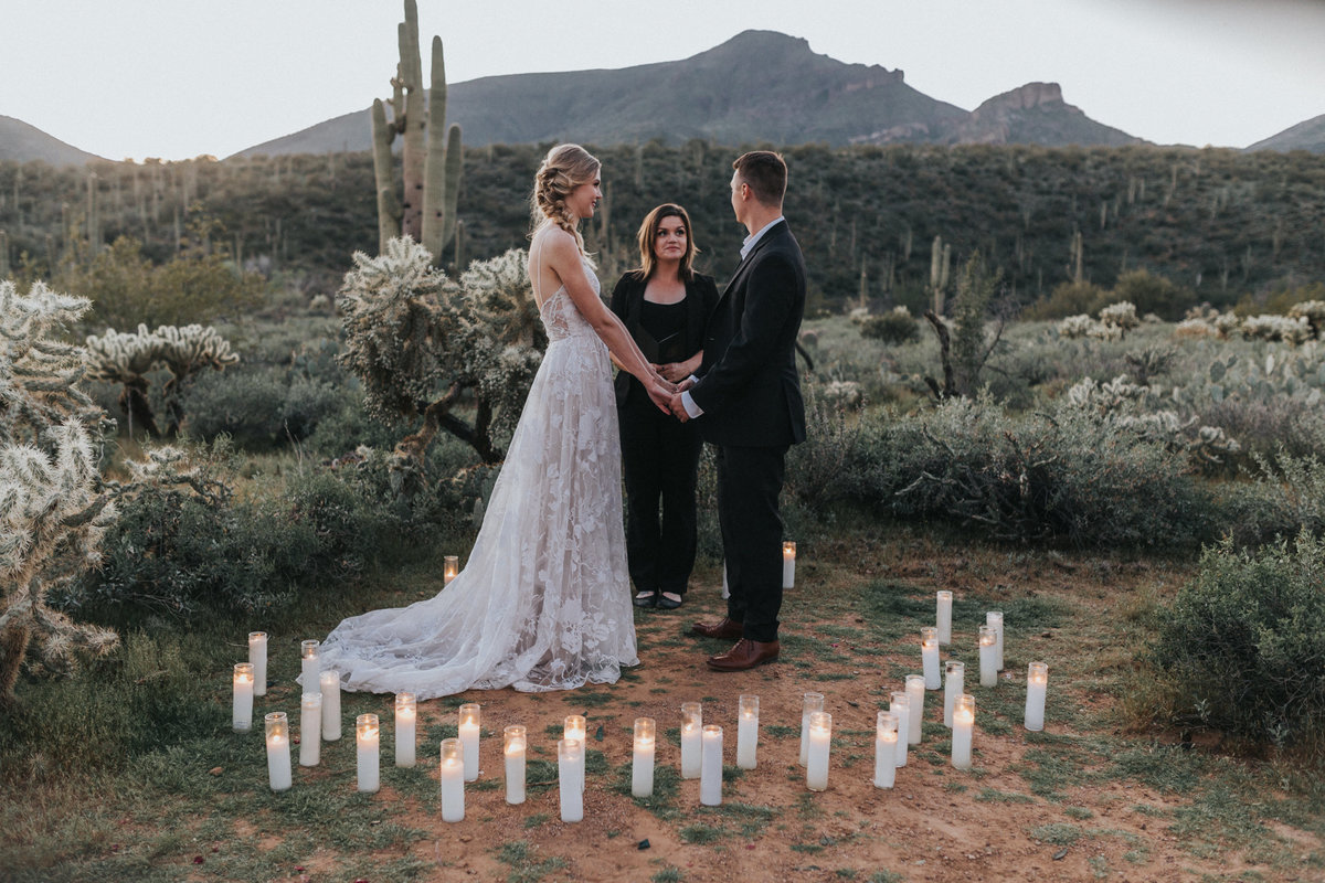 Bride and groom eloping in the desert outside of Phoenix, Arizona.