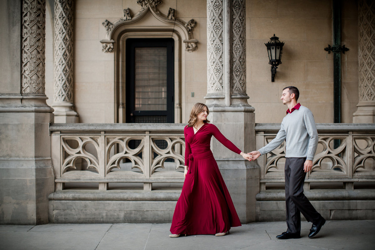 Walking hand in hand at The Biltmore engagement photo by Knoxville Wedding Photographer, Amanda May Photos.