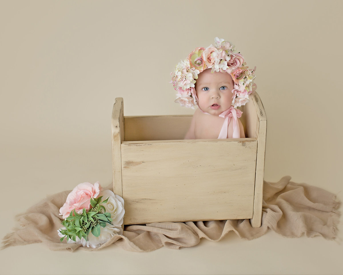 milestone session little girl flower bonnet photography