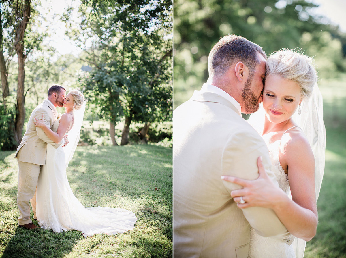 Bride & Groom cuddling in the sunlight by Knoxville Wedding Photographer, Amanda May Photos.