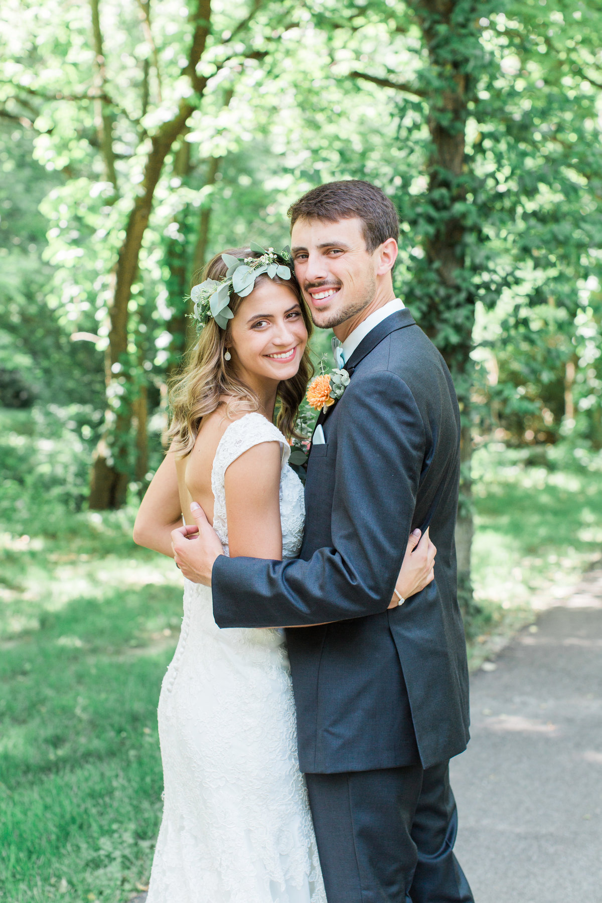 Charley Creek Gardens Wedding Bride and Groom Looking Back Photo