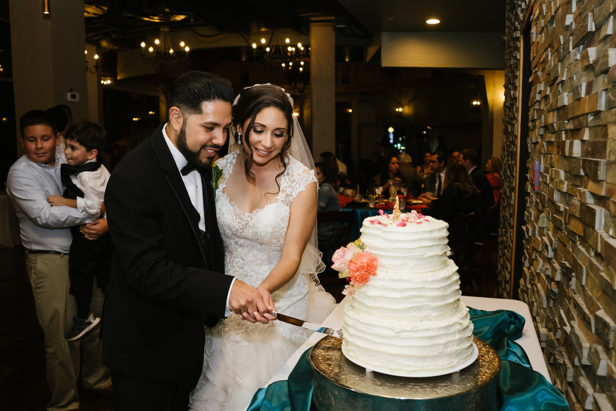 bride and groom cake cutting at wedding reception at Rio Plaza downtown San Antonio Texas