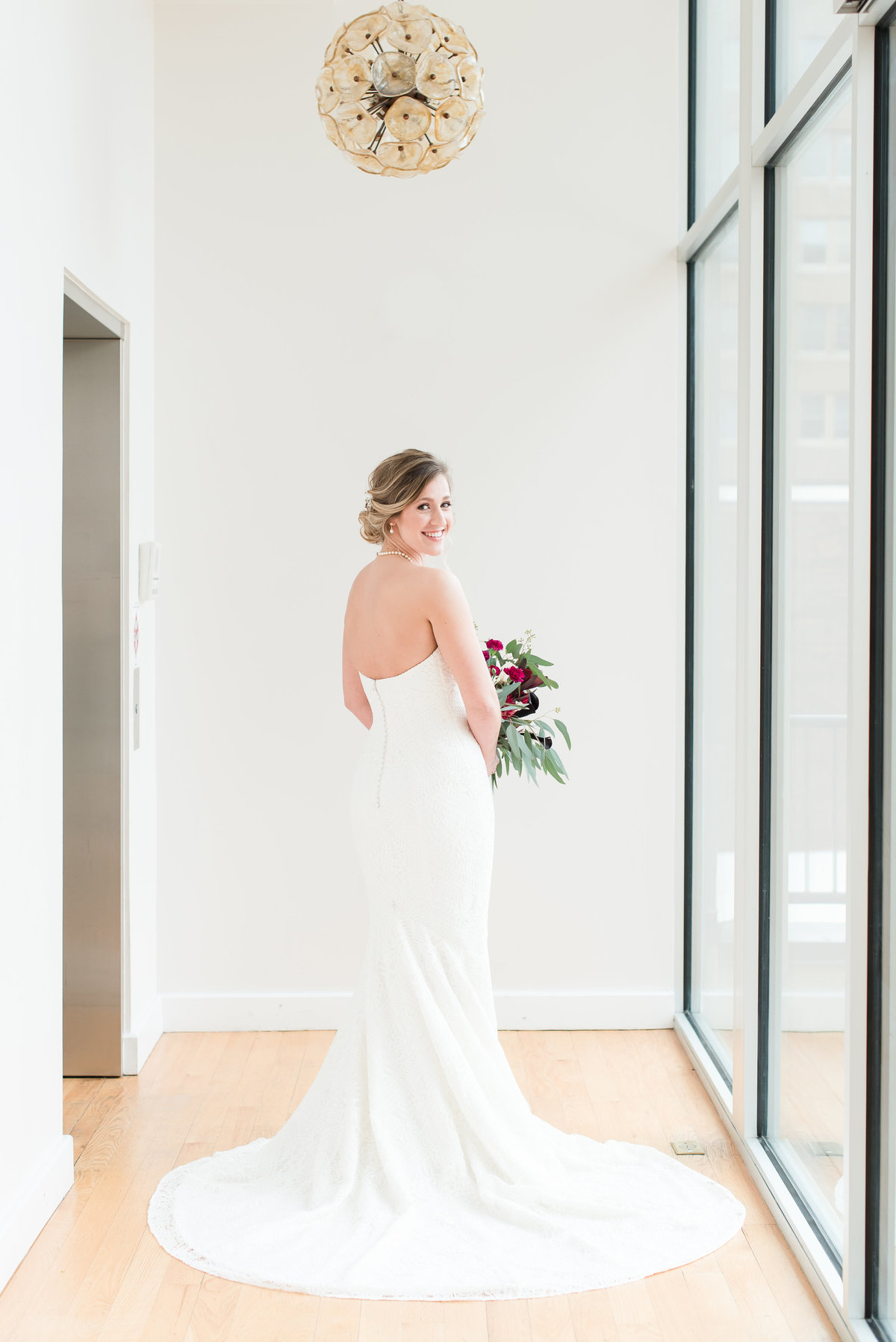 A bride looking back in Raleigh