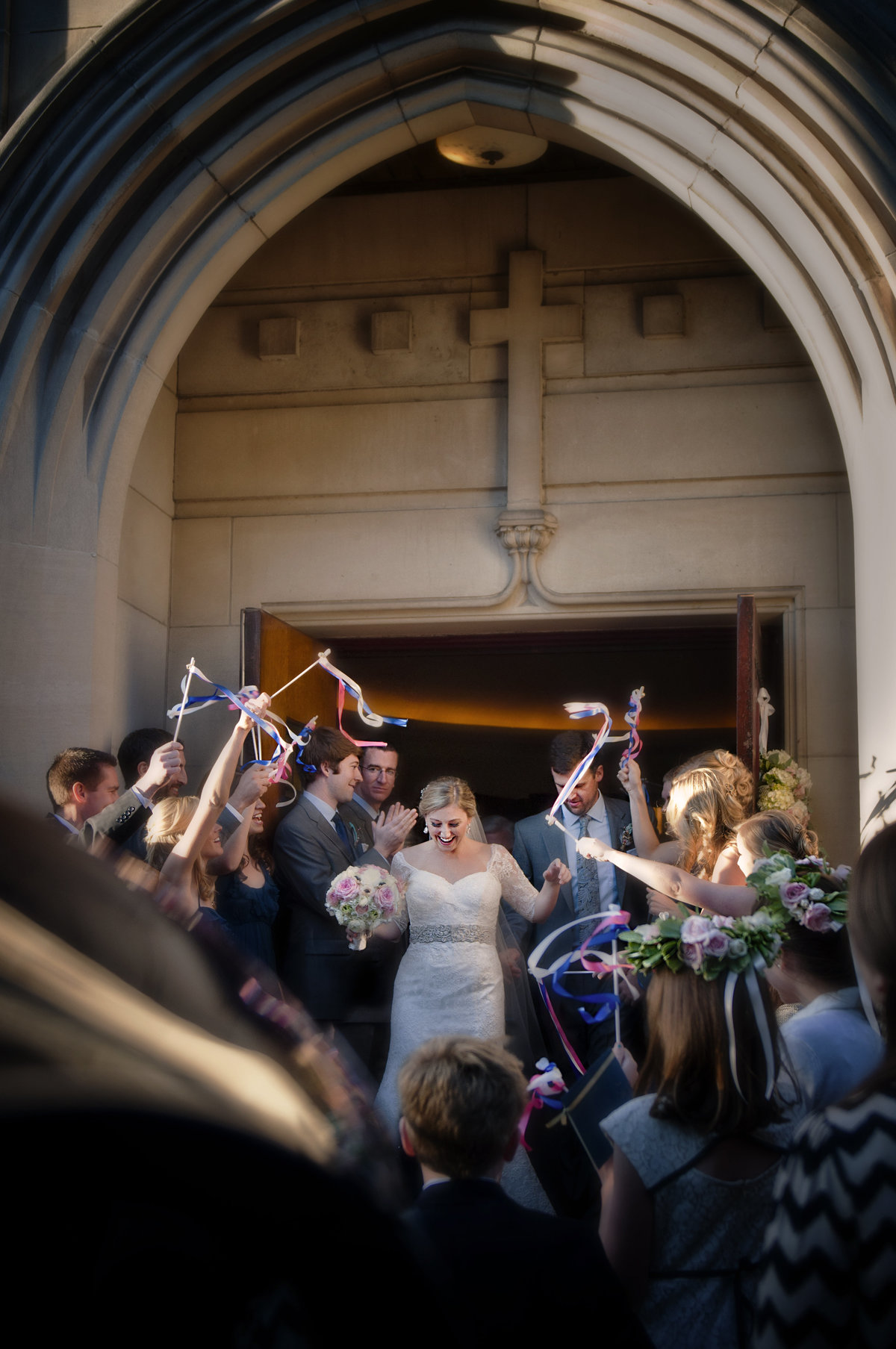 Wedding Bride and Groom Exiting Church after Wedding Ceremony, Washington DCExit, Church Wedding, DC Wedding Photographer