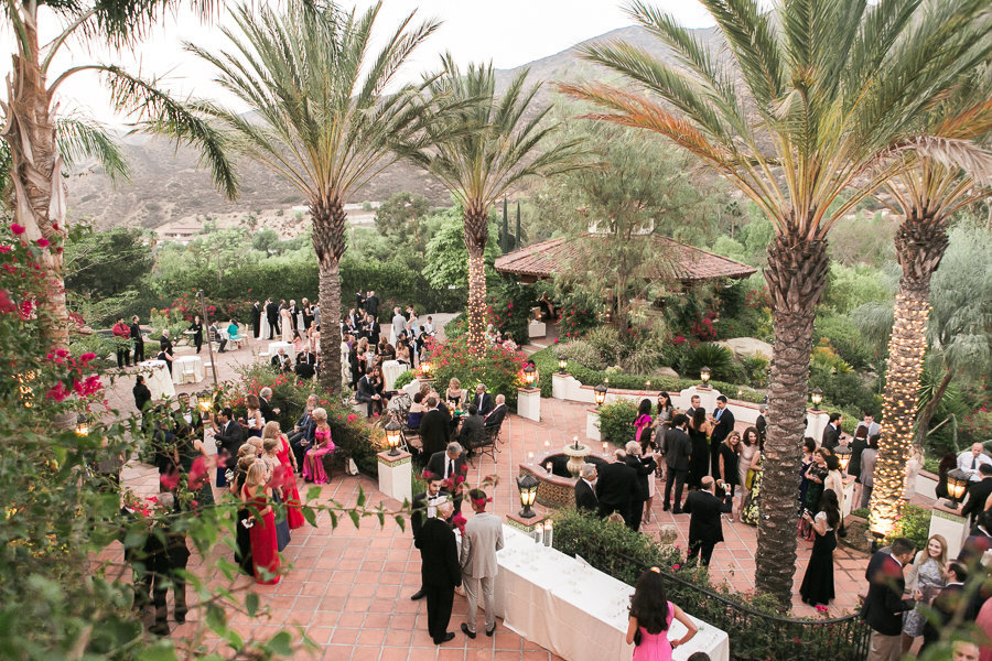 overhead shot of cocktail party