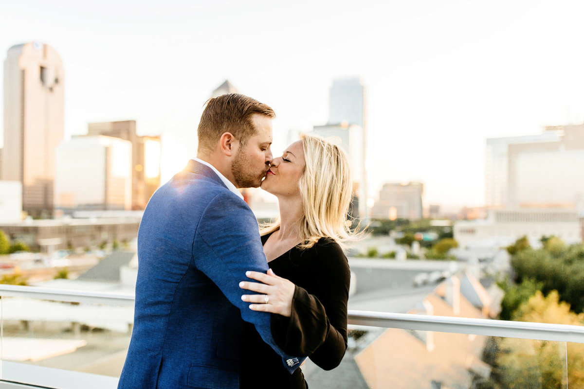 Eric & Megan - Downtown Dallas Rooftop Proposal & Engagement Session-97